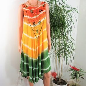 2 for$25 Sunflower Tie Dye Embroidered Swing Dress